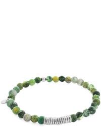 Tateossian Round Moss Agate Beaded Bracelet