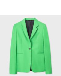 Paul Smith Bright Green One Button Wool Blazer