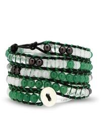 Bling Jewelry Green Jade Gemstone White Marble Bead Leather Wrap Bracelet 41in