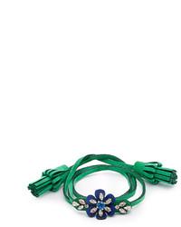 Shourouk Crystal Embellished Flower Alcantara Bracelet