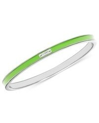 Fossil Bracelet Silver Tone Green Bangle
