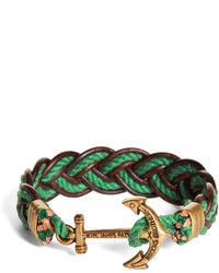Brooks Brothers Kiel James Patrick Green And Brown Leather Braided Bracelet
