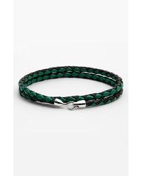 Mateo Bijoux Double Wrap Leather Rope Bracelet Green Black Silver