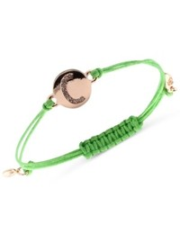Rachel Rachel Roy Bracelet Gold Tone C Initial Amulet Green Cotton Cord Adjustable Bracelet