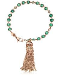 Rose Gold Tassel Bracelet W Peridot