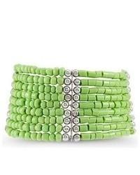 VistaBella Green Silver Tone Beads Wide Stretch Bracelet