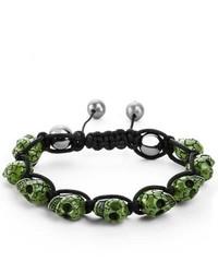 West Coast Jewelry Green Resin Grinning Skull Bead Adjustable Cord Bracelet