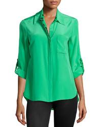 Diane von Furstenberg Lorelai Silk Blouse Hot Greenlily Green