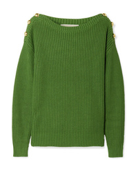 MICHAEL Michael Kors Button Embellished Ribbed Cotton Blend Sweater