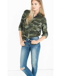 Express Camo Silky Soft Twill Boyfriend Shirt