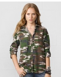 Denim & Supply Ralph Lauren Roll Tab Sleeve Camo Print Shirt
