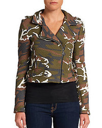 Alexis camouflage print quilted biker jacket medium 101364