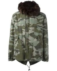 Mr mrs italy camouflage printed fur parka medium 876829