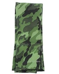 Tommy Hilfiger New Green Silk Camouflage Pocket Square Bhfo