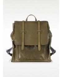 Ascott olive green leather backpack medium 85598