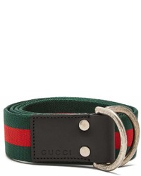 Gucci D Ring Striped Canvas Belt