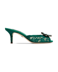 Dolce & Gabbana Crystal Embellished Corded Lace Mules