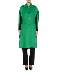 Marni Clasp Closure Wool Cashmere Cape Green