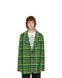 S.R. STUDIO. LA. CA. Green Open Weave Check Blazer