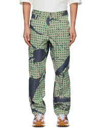 Homme Plissé Issey Miyake Green Burnt Out Printed Denim Jeans