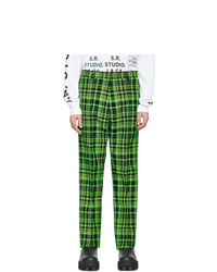 S.R. STUDIO. LA. CA. Green Open Weave Check Trousers