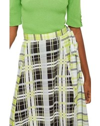 Topshop Obsession Mixed Check Print Midi Skirt