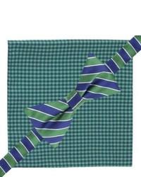 City of London Bow Tie And Pocket Square Set Green Checkstripe