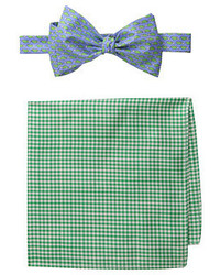 Tommy Hilfiger Turtle Gingham Bowtie And Pocket Square Set