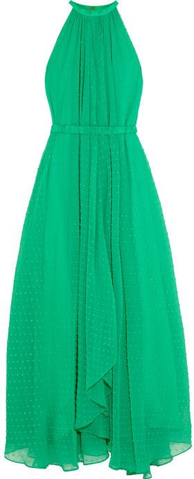 eda98aabba730 COM › Saloni › Green Chiffon Maxi Dresses Saloni Irina Swiss Dot Chiffon  Maxi Dress ...