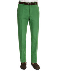 Incotex Chinolino Linen Blend Trousers Green
