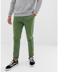 ASOS DESIGN Skinny Chinos In Washed Green