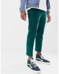 ASOS DESIGN Slim Crop Smart Trouser In Teal Cord