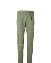 Zanella Slim Fit Pleated Washed Cotton Trousers
