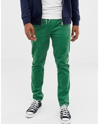 ASOS DESIGN Slim Trousers With Elastic Waist In Green Cord