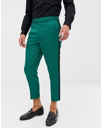 ASOS Edition Tapered Smart Trousers In Green Jacquard