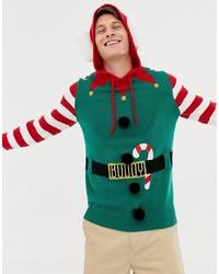 Brave Soul Christmas Hooded Elf Jumper With Bells
