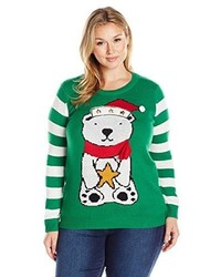 Derek heart juniors plus size light up crew neck bear christmas sweater medium 1101825