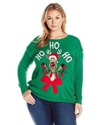 Derek heart juniors plus size light up crew neck reindeer christmas sweater medium 1101824