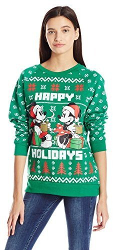 disney juniors licensed mickey and minnie cotton polyester all over printed ugly christmas sweater - Disney Christmas Sweaters