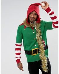 Threadbare Hooded Elf Jumper With Bells