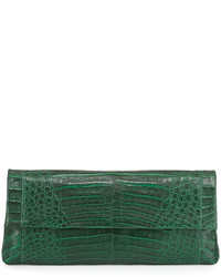 Gotham crocodile flap clutch bag green matte medium 524985