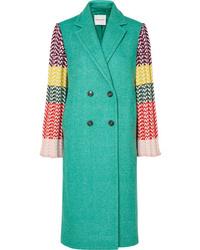 Mira Mikati Appliqud Wool Blend And Ribbed Crochet Knit Coat