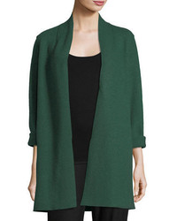 Eileen Fisher High Collar Open Front Boiled Wool Coat