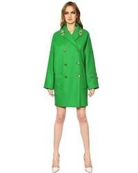 Versace Embellished Wool Blend Coat