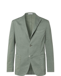 Boglioli Green K Jacket Slim Fit Unstructured Stretch Cotton Twill Suit Jacket