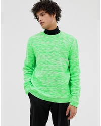 ASOS DESIGN Textured Space Dye Knit Jumper In Neon Green