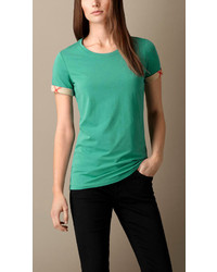 Burberry Check Cuff Stretch Cotton T Shirt