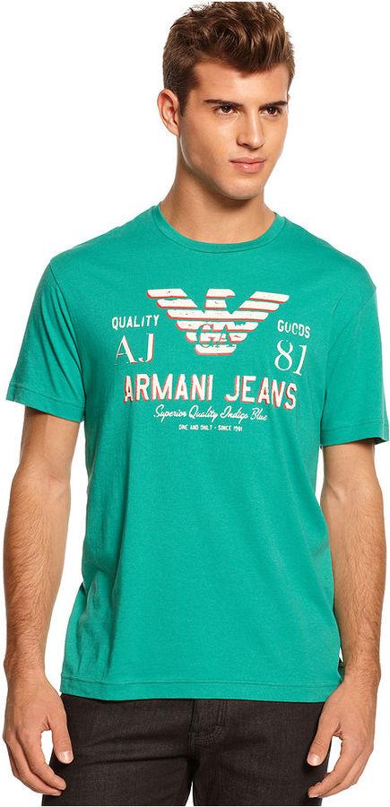 b043980544b ... Armani Jeans Shirt Slim Fit Crew Neck Logo T Shirt