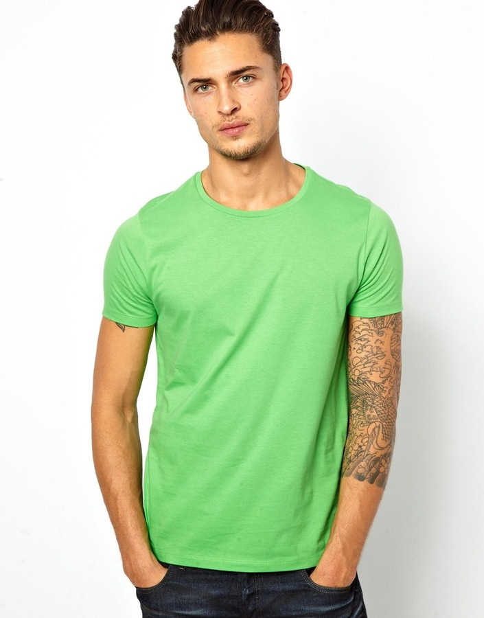 895a585bf Asos T Shirt With Crew Neck Green, $11 | Asos | Lookastic.com