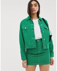 Missguided Co Ord Denim Jacket In Green